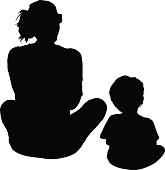 Mother And Son Sitting Silhouette