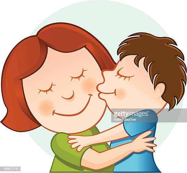 mother and son - kids hugging mom cartoon stock illustrations