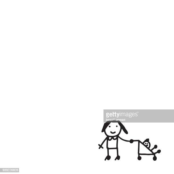 mother and the baby - child care stock illustrations