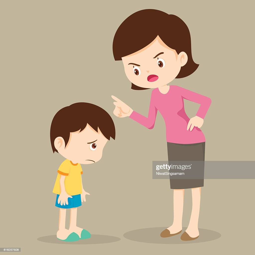 Mother angry at her son and blame : Arte vectorial