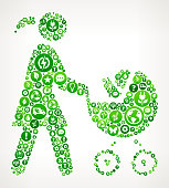 Mother & Baby Carriage Nature and Environmental Conservation Icon Pattern