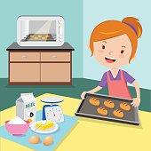 Mother baking buns