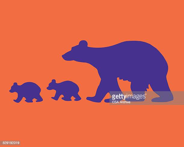 mother bear and two cubs - bear cub stock illustrations