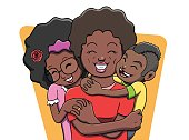 Mother Being Hugged by her Children - Black Family