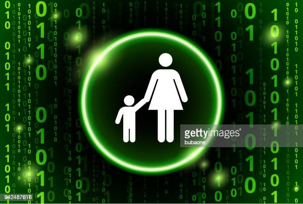 Mother & Boy Family Binary Code Vector Pattern Background