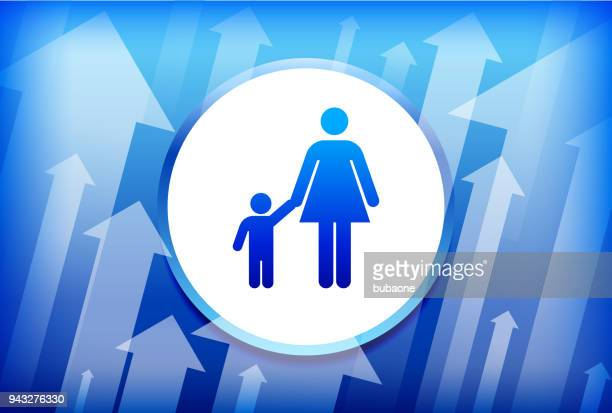 Mother & Boy Family Blue Up Arrows Background