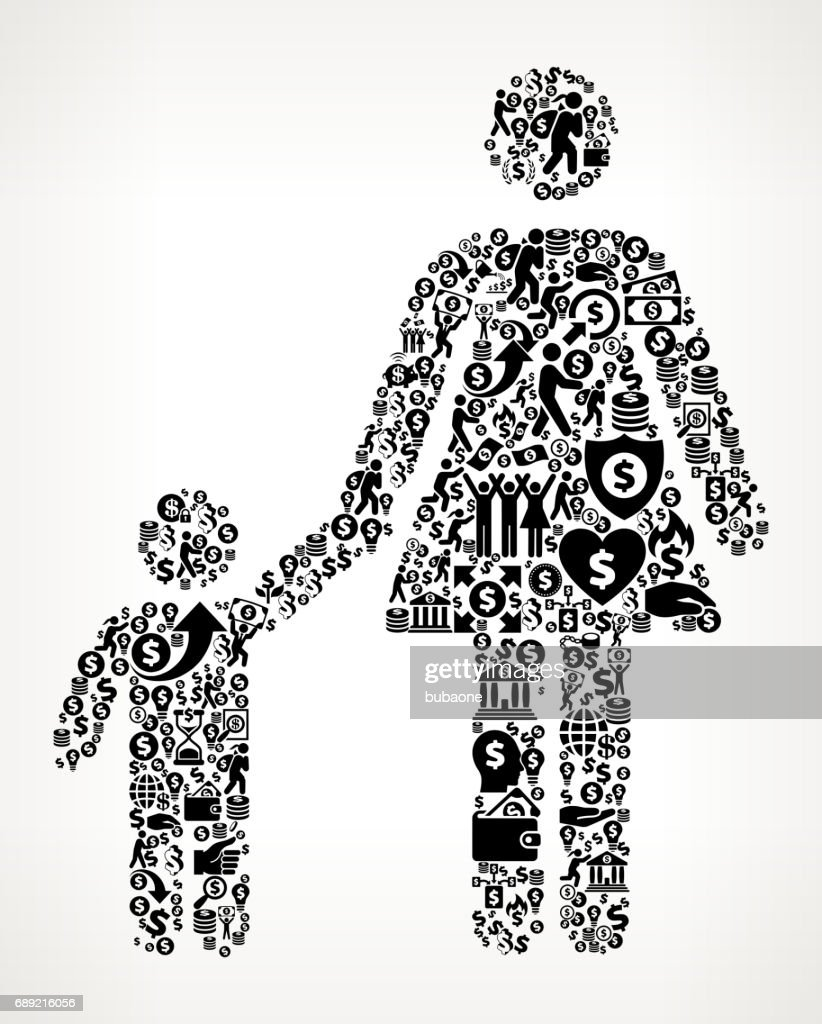 Mother & Boy Family Money and Finance Black and White Icon Background : Stock Illustration