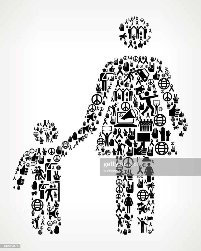 Mother & Boy Family Protest and Civil Rights Vector Icon Background : Stock Illustration