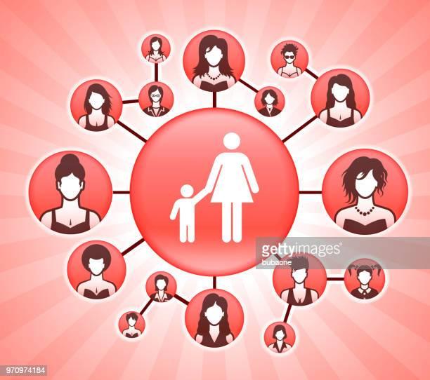 ilustraciones, imágenes clip art, dibujos animados e iconos de stock de derechos de la mujer madre y la familia del muchacho rosa fondo vector - madre trabajadora