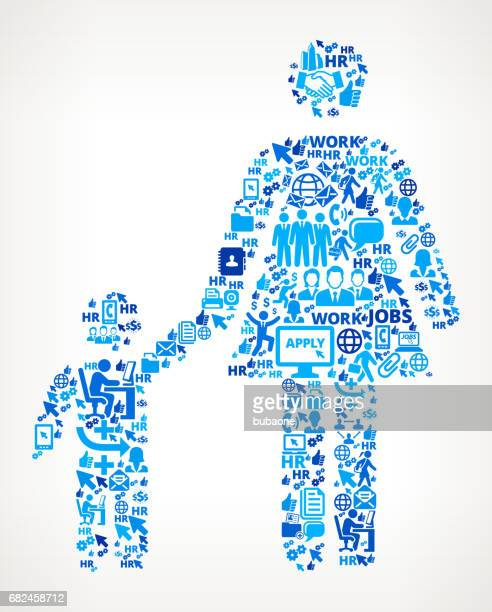 Mother & Boy Family Work and Employment Corporate Icon Background
