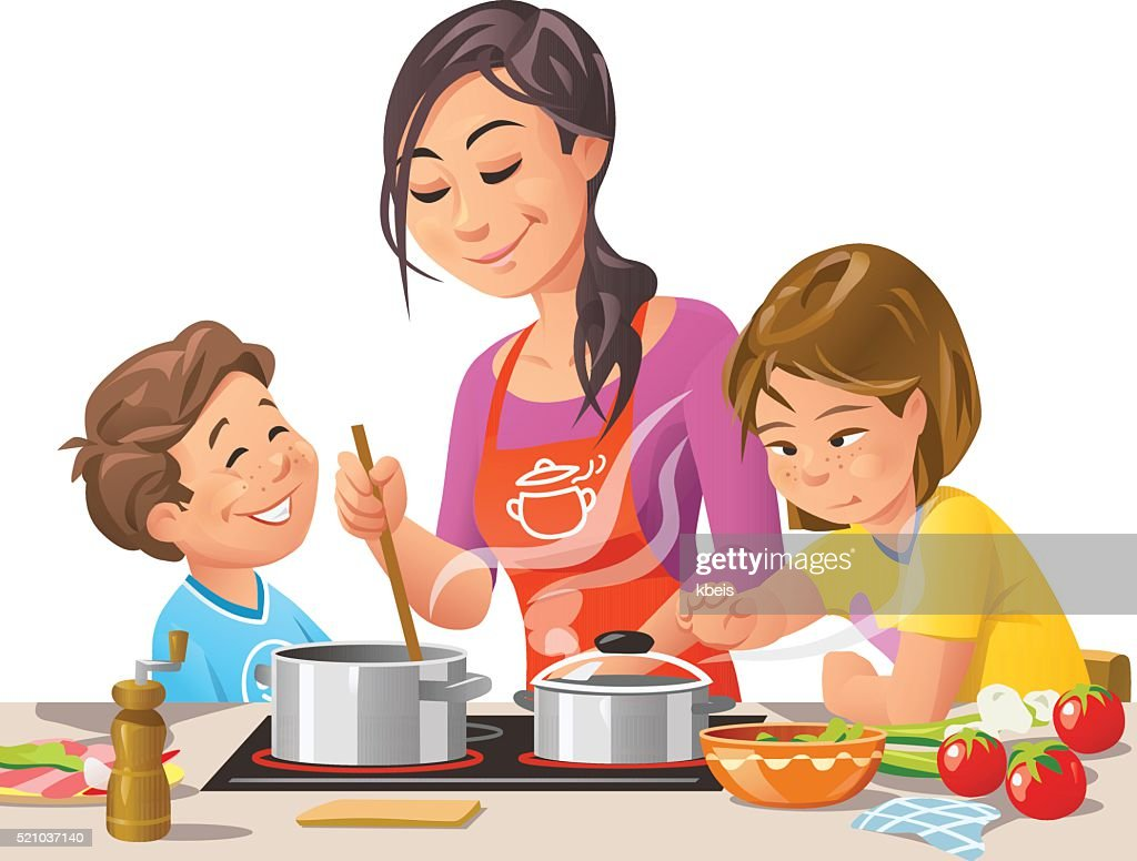 Mother Cooking With Kids : stock illustration