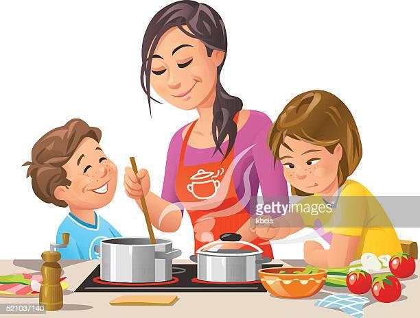 Mutter Kochen mit Kindern