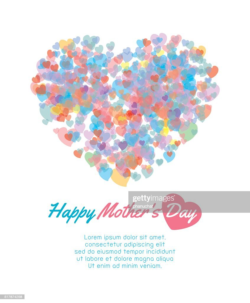 Mother Day Background With Heart Card Of Happy Mothers Vector Art