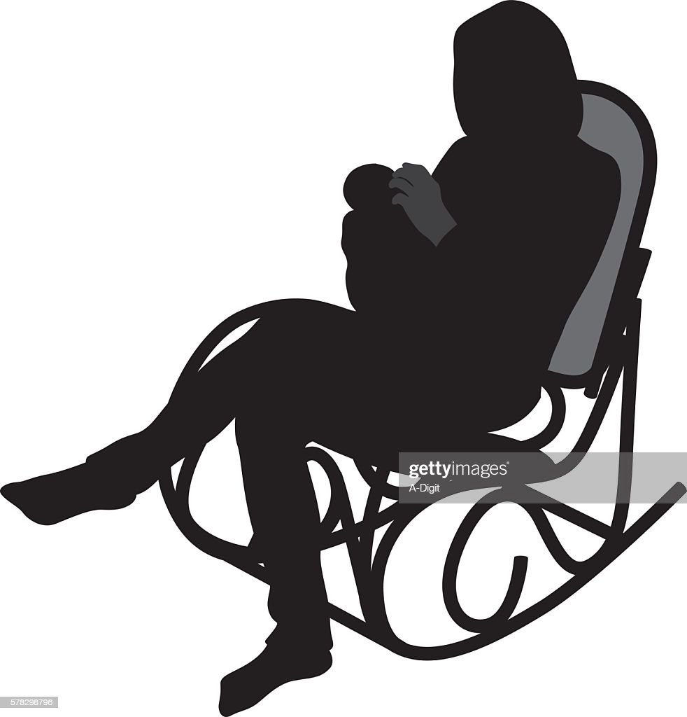 rocking chair silhouette. Mother Feeding Baby Rocking Chair : Vector Art Silhouette