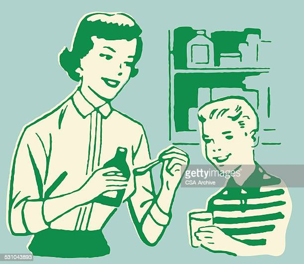 mother getting medicine for son - carer stock illustrations, clip art, cartoons, & icons