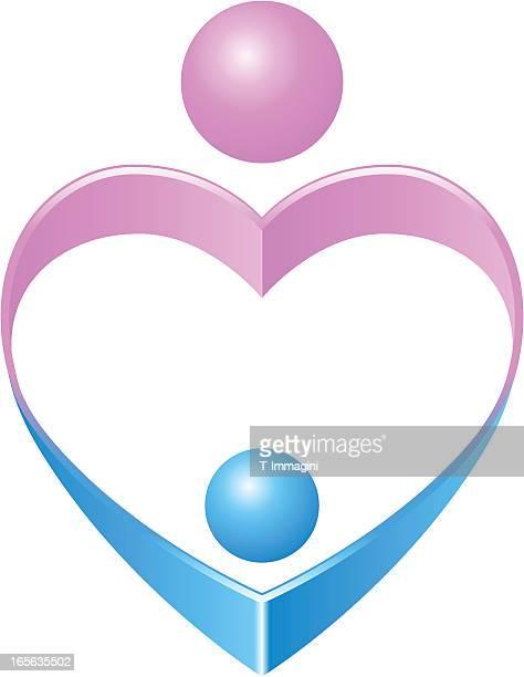 ilustrações de stock, clip art, desenhos animados e ícones de mãe símbolo do coração. mãe segurando seu filho. - bebe chegando