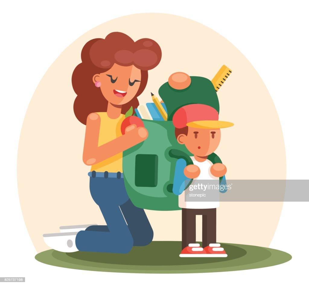 Mother helps her child preparing school bag. Cartoon flat style illustration