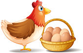 Mother hen and a basket of eggs