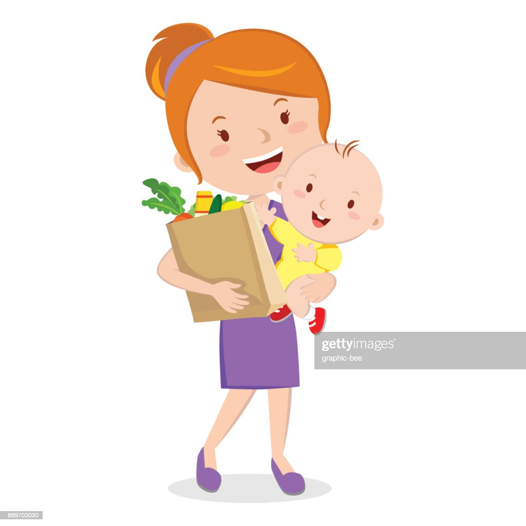 Mother holding baby and grocery shopping bag