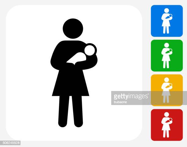 Mother Holding Baby Icon Flat Graphic Design