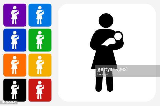 Mother Holding Baby Icon Square Button Set
