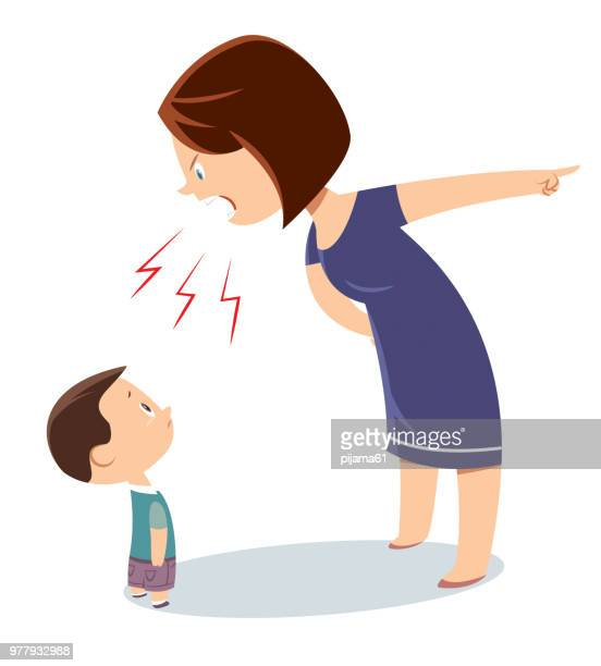 mother is yelling her son - anger stock illustrations