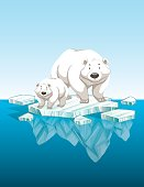 Mother polar bear and cub on ice