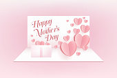 Mother postcard on pink background. Vector symbols of love in shape of heart for Happy Mother's Day greeting card.