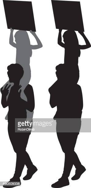 mother protesting with daughter on her shoulders. - piggyback stock illustrations, clip art, cartoons, & icons