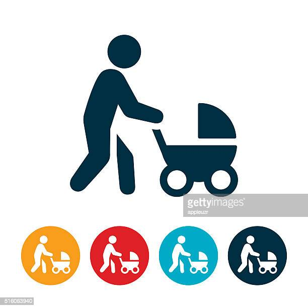 Mother Pushing Stroller Icon