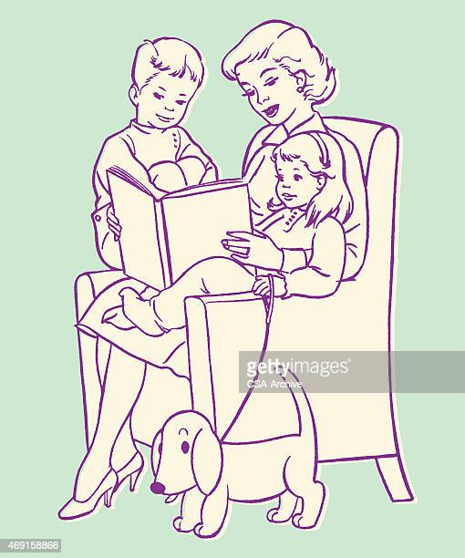 mother reading to children - carer stock illustrations, clip art, cartoons, & icons