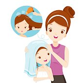 Mother Rub Daughter Hair With Towel