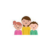 mother, son, daughter cartoon icon. Element of family cartoon icon for mobile concept and web apps. Detailed mother, son, daughter icon can be used for web and mobile