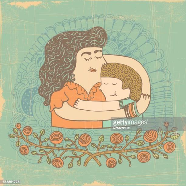 ilustraciones, imágenes clip art, dibujos animados e iconos de stock de abrazo de madre hijo - madre e hija