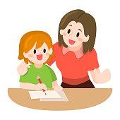 Mother Teaching her Children Illustration