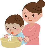 Mother to be cared with the child to vomit