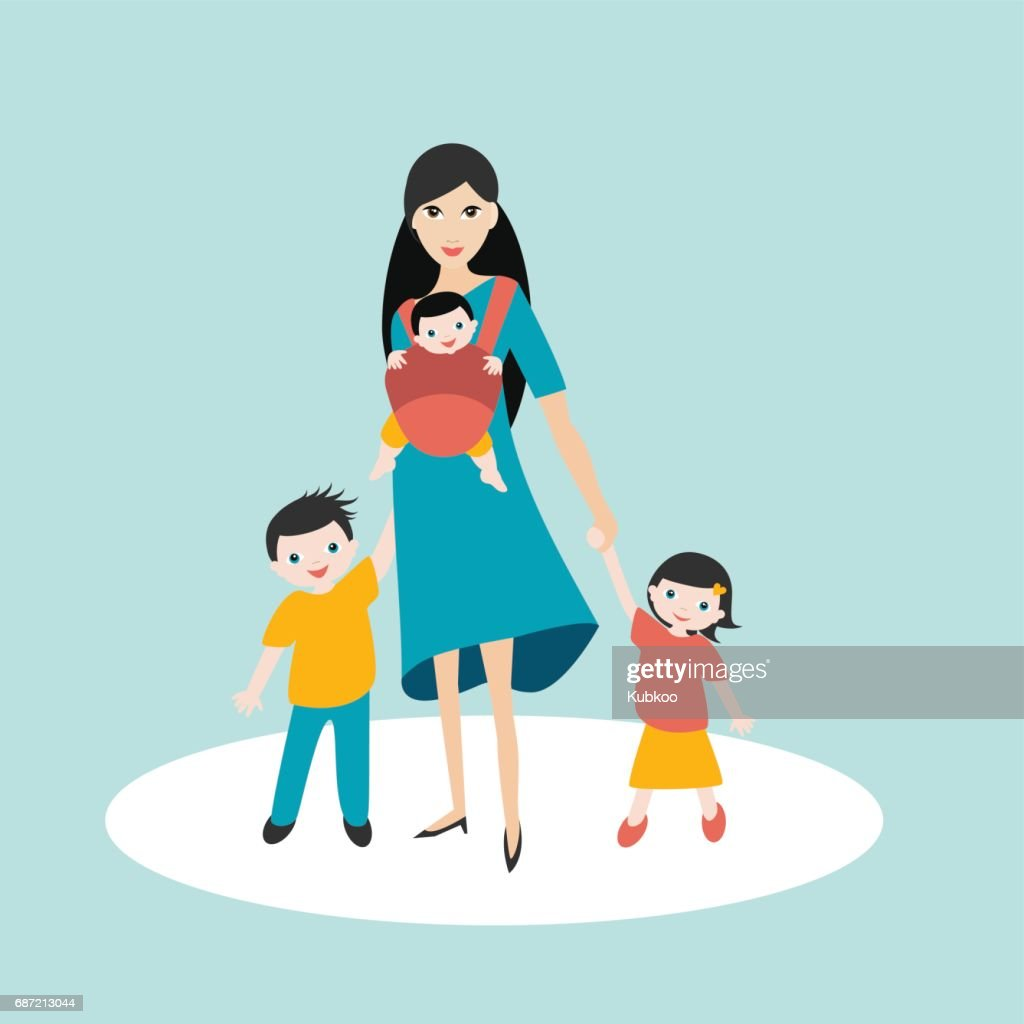Mother walking with children, son and daughter and baby