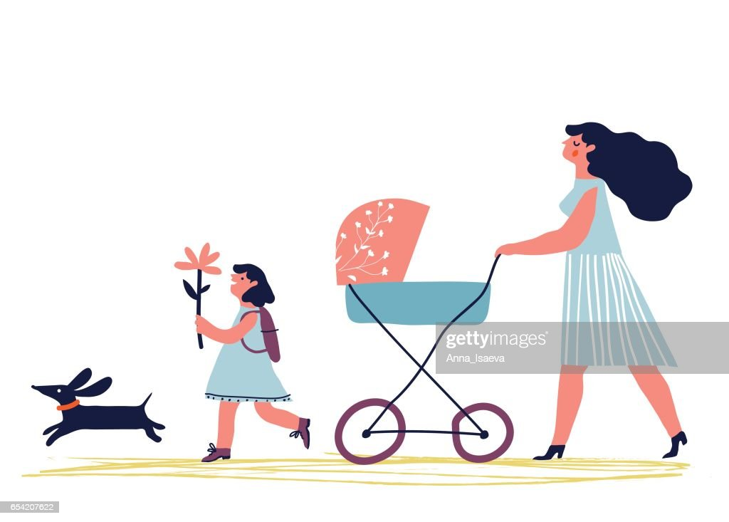 mother walking with children
