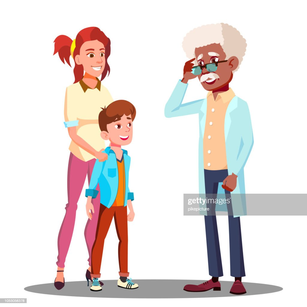 Mother With A Child Visiting To The Doctor Vector. Isolated Illustration