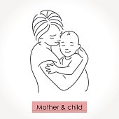 Mother with child. Line art icon