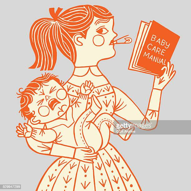 mother with crying baby - nanny stock illustrations