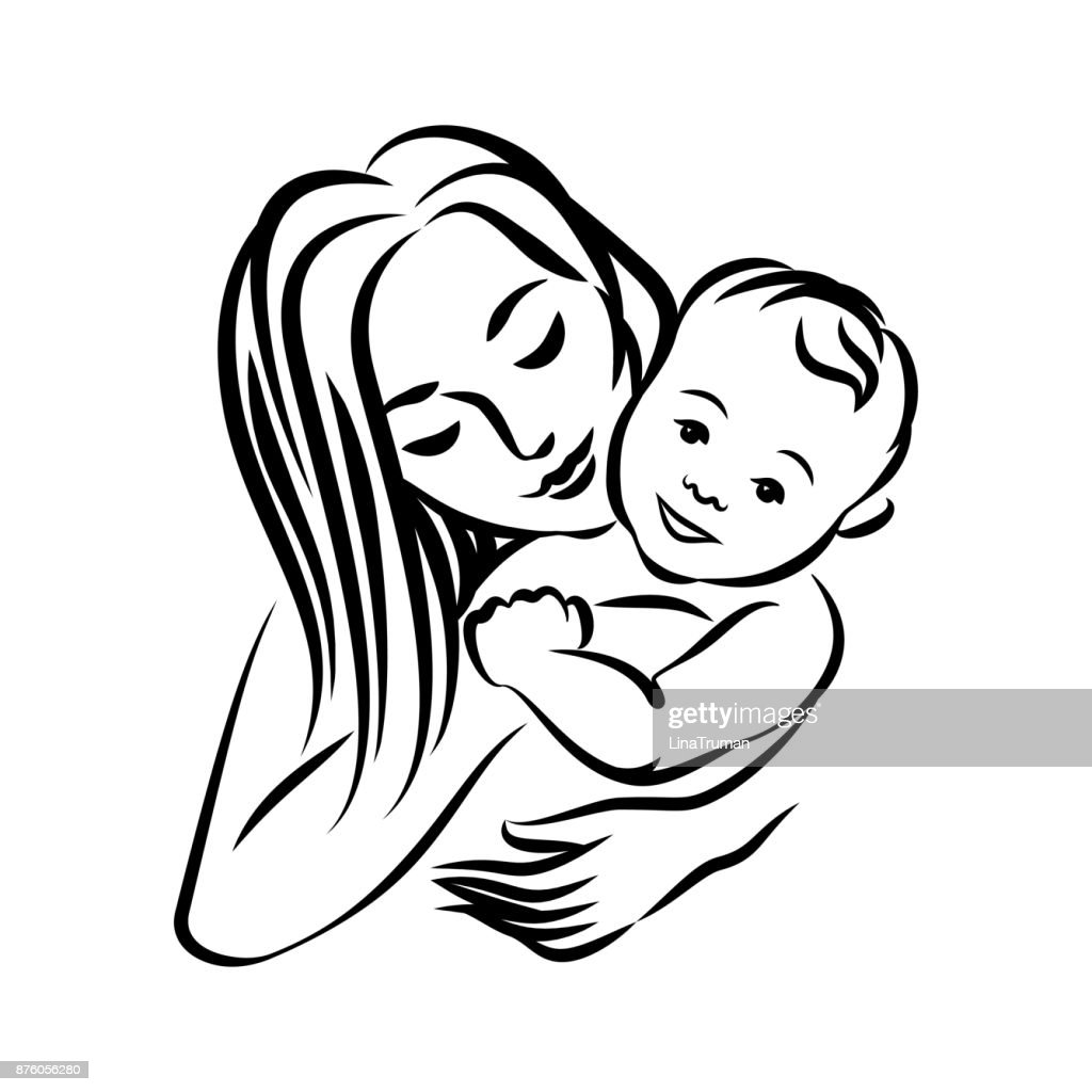 Mother With Her Baby Stylized Outline Symbol Motherhood Love Mother