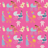 Mother with Pram Seamless Pattern in Retro Style. Women with Baby Carriage Background