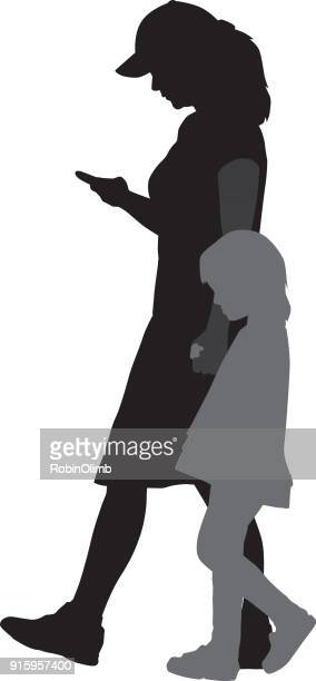 mother with smart phone holding hands with daughter - full length stock illustrations, clip art, cartoons, & icons