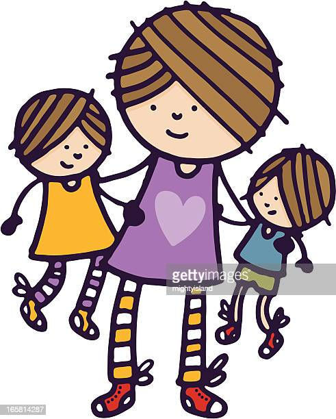 mother with son and daughter - kids hugging mom cartoon stock illustrations