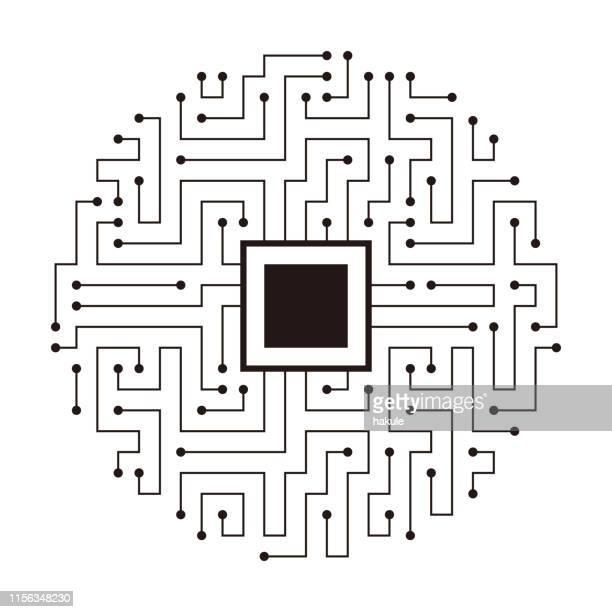 ilustrações, clipart, desenhos animados e ícones de motherboards e chip, conceito de inteligência artificial - chip de computador