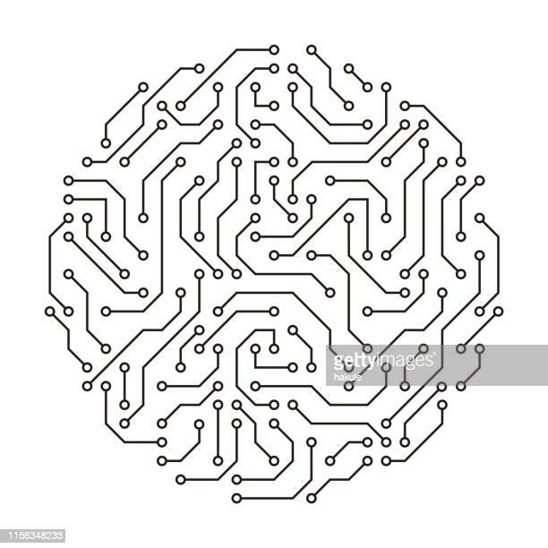 motherboards and chip, artificial intelligence concept - computer chip stock illustrations