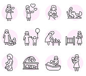 motherhood icons set.