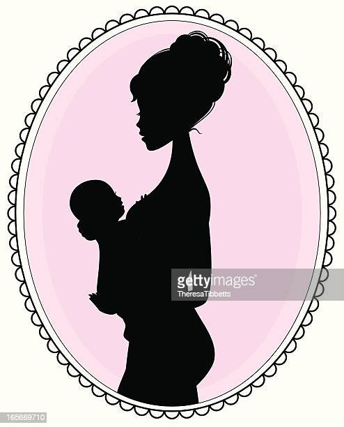 motherhood - kids hugging mom cartoon stock illustrations