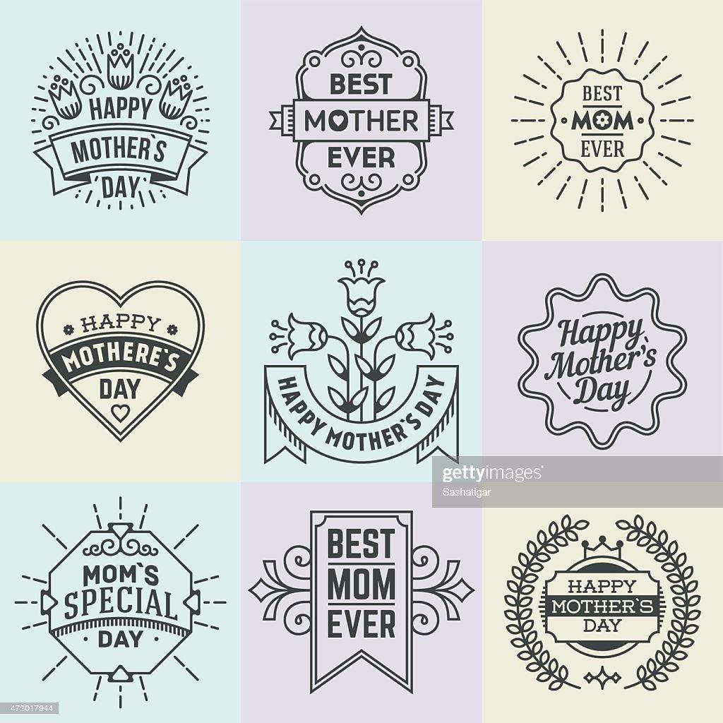 Mother`s Day. Assorted retro design insignias logotypes set.